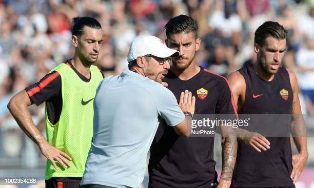 Eusebio Di Francesco head coach of AS Roma and Lorenzo Pellegrini during training session open to the fans of AS Roma preseason retreat at Stadio Tre...