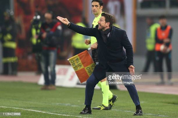 Eusebio Di Francesco head coach of AS Roma during the Italian Serie A match between Lazio v AS Roma at the Stadio Olimpico Rome on March 2 2019 in...