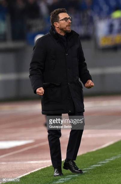 Eusebio Di Francesco head coach of AS Roma during the serie A match between AS Roma and Atalanta BC at Stadio Olimpico on January 6 2018 in Rome Italy