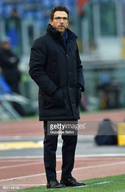 Eusebio Di Francesco head coach of AS Roma during the serie A match between AS Roma and US Sassuolo at Stadio Olimpico on December 30 2017 in Rome...