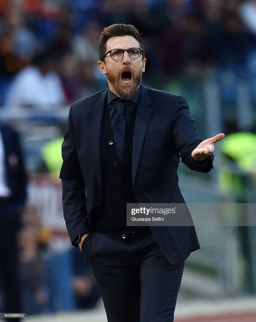 Eusebio Di Francesco head coach of AS Roma during the serie A match between AS Roma and ACF Fiorentina at Stadio Olimpico on April 7, 2018 in Rome, Italy.