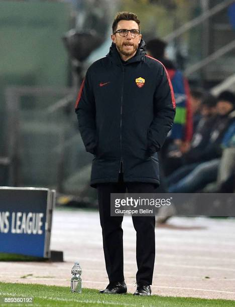 Eusebio Di Francesco head coach of AS Roma during the UEFA Champions League group C match between AS Roma and Qarabag FK at Stadio Olimpico on...