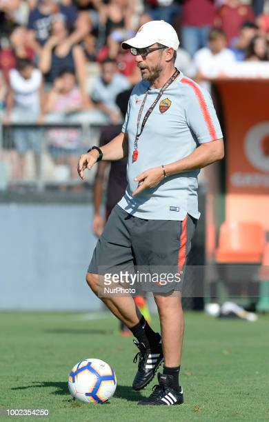 Eusebio Di Francesco head coach of AS Roma during training session open to the fans of AS Roma preseason retreat at Stadio Tre Fontane on july 19...