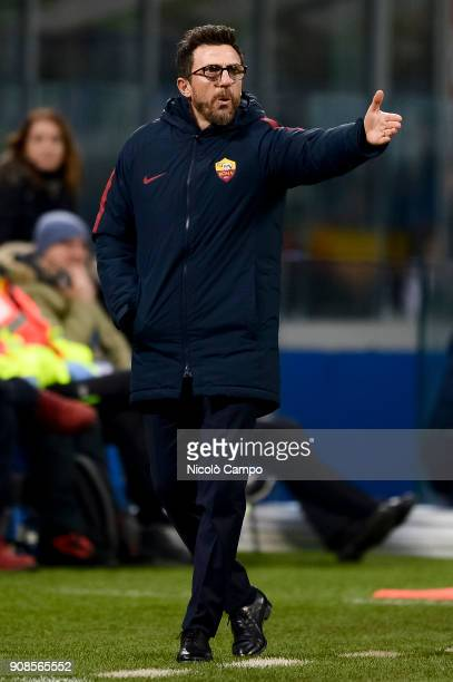 Eusebio Di Francesco head coach of AS Roma gestures during the Serie A football match between FC Internazionale and AS Roma The match ended in a 11...