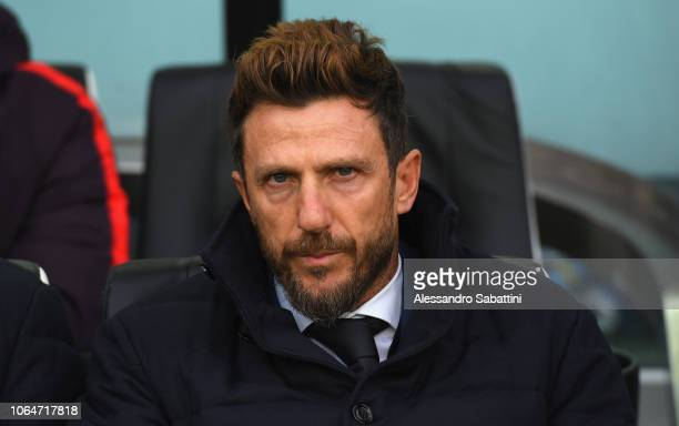 Eusebio Di Francesco head coach of AS Roma looks on before the Serie A match between Udinese and AS Roma at Stadio Friuli on November 24 2018 in...