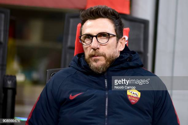 Eusebio Di Francesco head coach of AS Roma looks on prior to the Serie A football match between FC Internazionale and AS Roma The match ended in a 11...