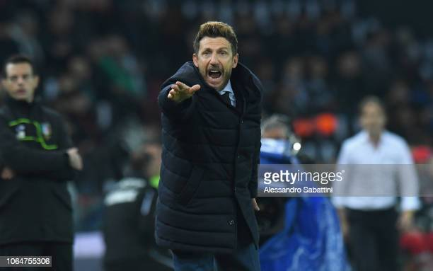 Eusebio Di Francesco head coach of AS Roma reacts during the Serie A match between Udinese and AS Roma at Stadio Friuli on November 24 2018 in Udine...