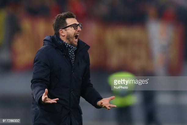 Eusebio Di Francesco manager of Roma during the serie A match between AS Roma and Benevento Calcio at Stadio Olimpico on February 11 2018 in Rome...