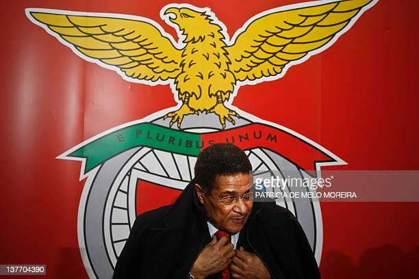 Eusebio known as Pantera Negra exfootball player of SL Benfica arrives for the launch of his biography on his 70th birthday at the Luz Stadium in...