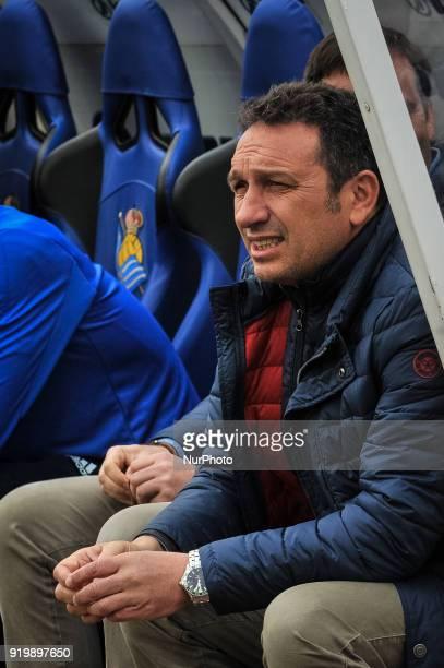 Eusebio Sacristan head coach of Real Sociedad reacts during the Spanish league football match between Real Sociedad and Levante at the Anoeta Stadium...