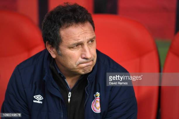 Eusebio Sacristan manager of Girona looks on prior to the La Liga match between Girona FC and FC Barcelona at Montilivi Stadium on January 27 2019 in...