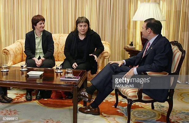 Euskal Herrialdetako Alderdi Komunista Communist Party of the Basque Lands members Nekane Erauzkin and Maite Aranburu talk with Basque government...