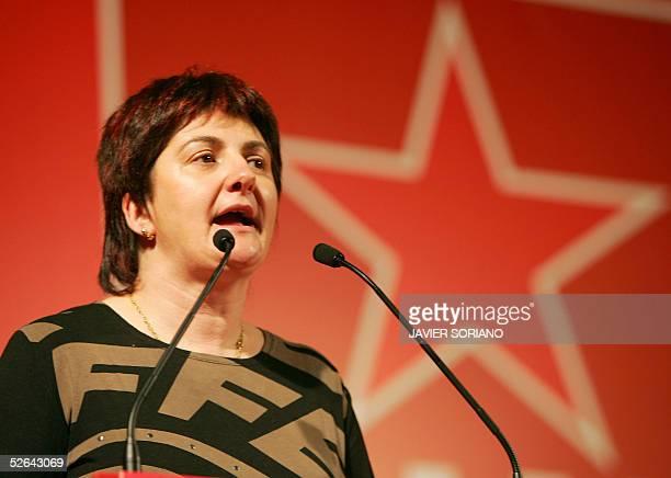 Euskal Herrialdetako Alderdi Komunista EHAKPCTV candidate Basque regional elections Nekane Erauzkin next to other members of her party speaks during...