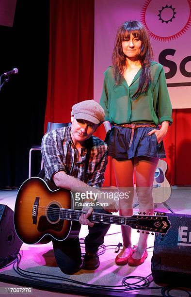 Eva Amaral and Juan Aguirre of Spanish rock band Amaral perform during a press conference a El Sol disco on June 20 2011 in Madrid Spain