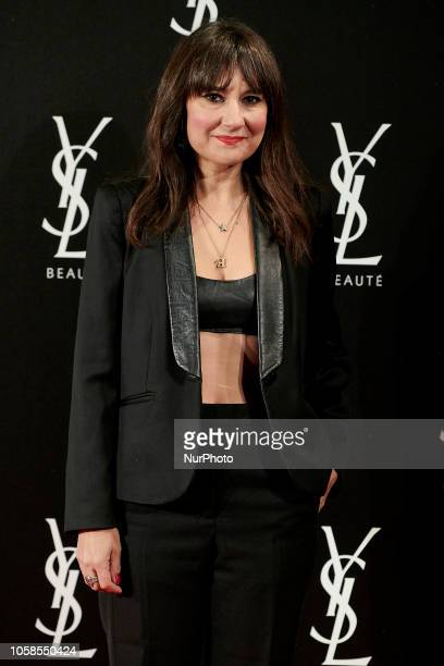 Eva Amaral attends the YVES SAINT LAURENT THE SLIM Rouge PurCouture party photocall at Santona Palace in Madrid on October 6 2018