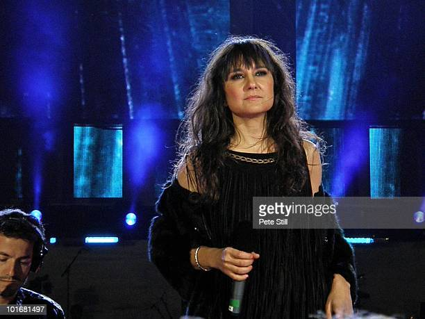 Eva Amaral of Spanish group Amaral performs on stage at the 46664 concert in honour of Nelson Mandela's 90th birthday in Hyde Park, Central London,...