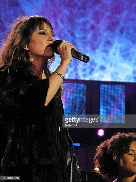Eva Amaral of Spanish group Amaral performs on stage at the 46664 concert in honour of Nelson Mandela's 90th birthday in Hyde Park Central London...