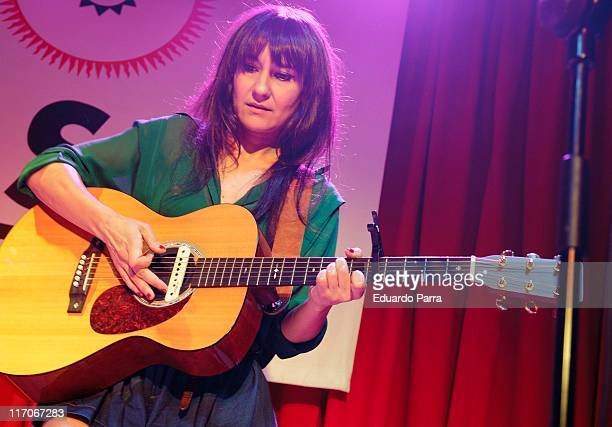 Eva Amaral of Spanish rock band Amaral performs during a press conference a El Sol disco on June 20 2011 in Madrid Spain