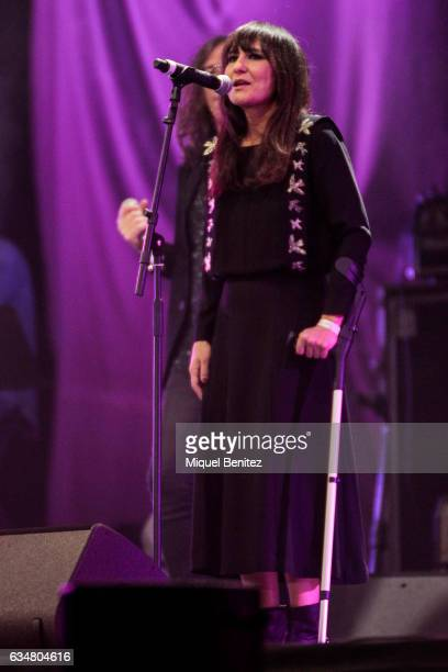 Eva Amaral performs 'Camins' live on stage during the 'Gran Concert de les Persones Refugiades' 'Big Concert for Refugee People' at the Palau de Sant...