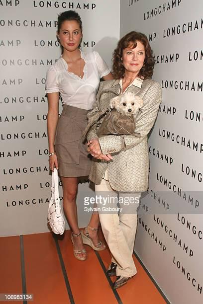 Eva Amurri and Susan Sarandon and dog Penny during La Maison Unique Longchamp US flagship Grand opening party arrivals at La Maison Unique Longchamp...