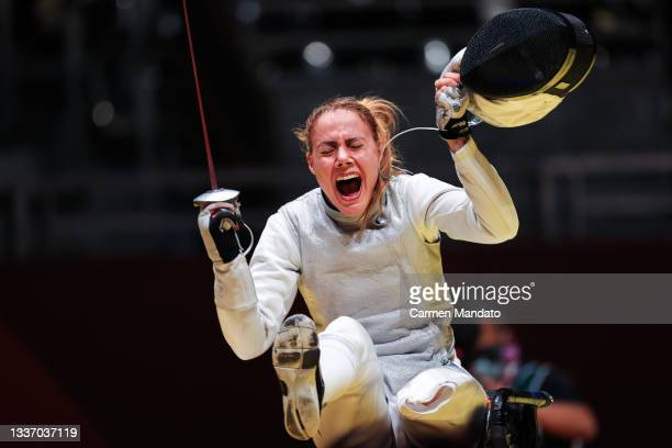 Eva Andrea Hajmasi of Team Hungary reacts following their win in the Women's Team Foil Bronze Medal Match on day 5 of the Tokyo 2020 Paralympic Games...