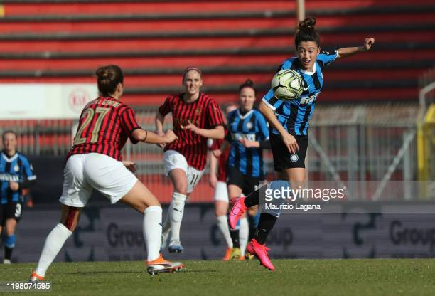 Eva Bartonova of Inter competes for the ball with Linda Tucceri of Milan during the Women Serie A match between AC Milan and FC Internazionale at...