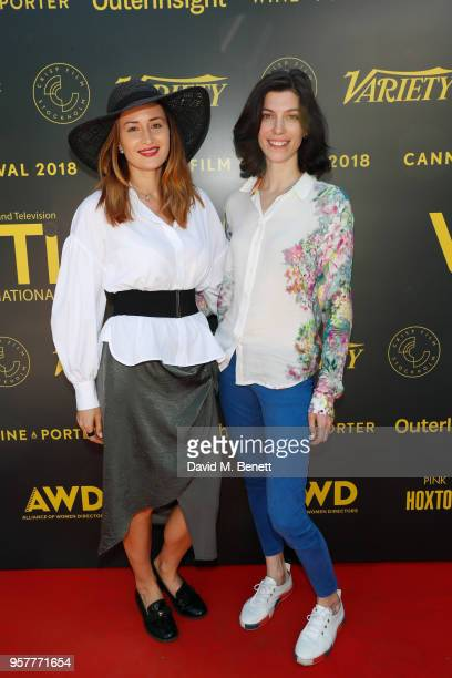 Eva Bass and guest attend as WIFT International with Variety Alliance of Women Directors host a cocktail party during the 71st Cannes Film Festival...