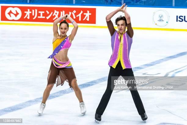 Eva Bernard and Tom Jochum of France perform during the ISU Junior Grand Prix of Figure Skating at Tivoli Hall on September 25, 2021 in Ljubljana,...