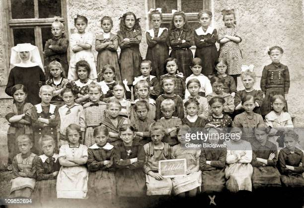 Eva Braun , aged nine with her classmates at the Beilngries convent school Beilngries, Germany, 1922. Beilngries is 70 miles north of Munich, where...