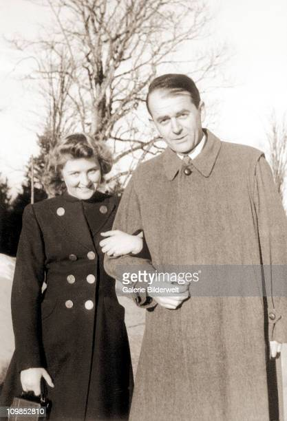Eva Braun and architect Albert Speer walking together near Adolf Hitler's residence, the Berghof near Berchtesgaden, Germany, 1940. Eva Braun had a...
