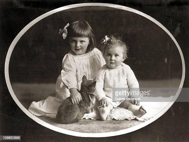 Eva Braun and her sister Ilse in a childhood photo, Munich, Germany, 1913. Ilse worked for and had a relationship with the Jewish surgeon Dr Martin...