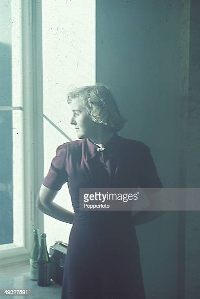 Eva Braun future wife of Adolf Hitler posed at the Berghof in Obersalzberg, Germany circa 1940.
