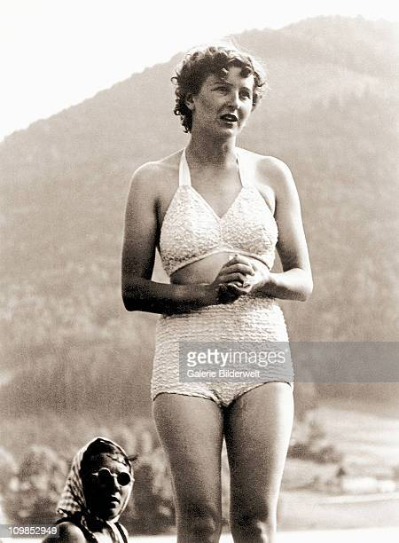 Eva Braun in her bathing suit near Berchtesgaden, Germany, 1940.