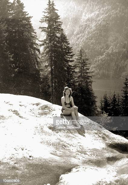 Eva Braun sunbathing at Konigssee 4 miles from the Berghof Berchtesgaden Germany where she lived with Adolf Hitler 1940