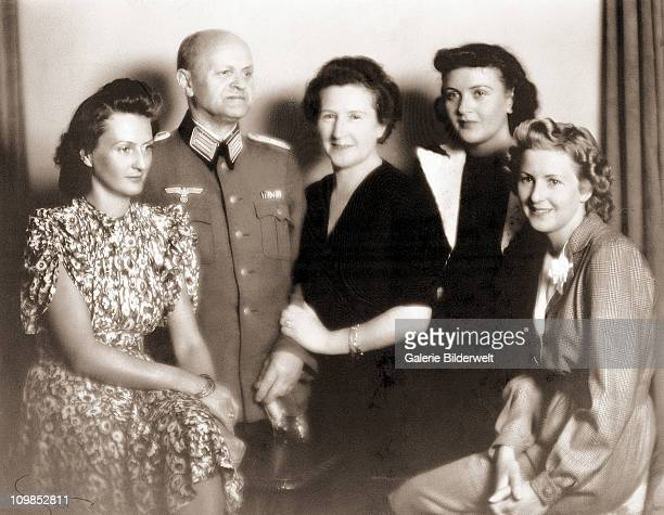Eva Braun with her parents, Friedrich 'Fritz' and Franziska and her sisters Ilse and Margarethe 'Gretl' , 1940.