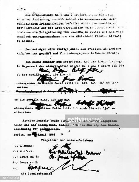 Eva BraunEva BraunAdolf Hitler Politiker NSDAP D Die zweite Seite des Trauscheines von Hitler und Eva Braun vom