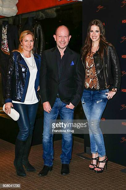 Eva Bruening Brian Rennie and Beate Igel during the launch dinner of his new collection 'Brian by Brian Rennie' for HSE24 on February 2 2016 in...