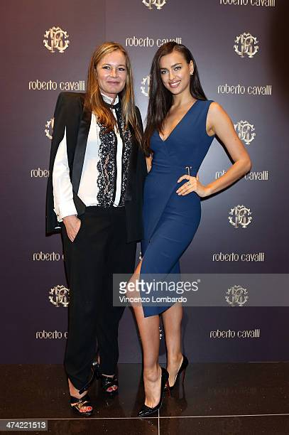 Eva Cavalli and Irina Shayk attend the Roberto Cavalli Boutique Opening as part of Milan Fashion Week Womenswear Autumn/Winter 2014 on February 22...