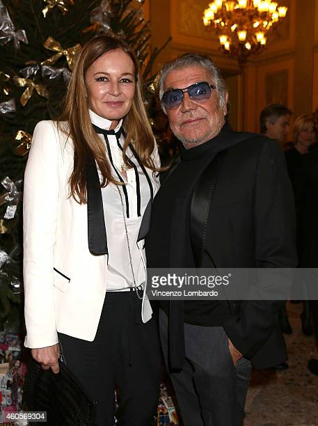 Eva Cavalli and Roberto Cavalli attend the Fondazione IEO CCM Christmas Dinner For on December 16 2014 in Monza Italy