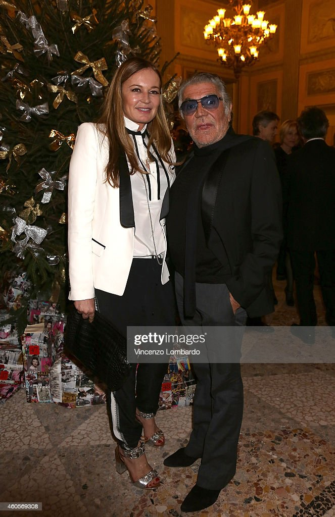 Eva Cavalli and Roberto Cavalli attend the 'Fondazione IEO - CCM' Christmas Dinner For on December 16, 2014 in Monza, Italy.