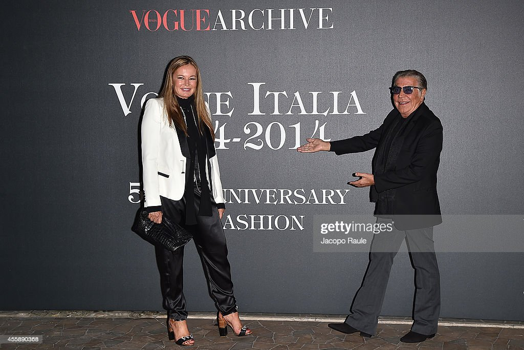 Eva Cavalli and Roberto Cavalli attend Vogue Italia 50th Anniversary during Milan Fashion Week Womenswear Spring/Summer 2015 on September 21, 2014 in Milan, Italy.