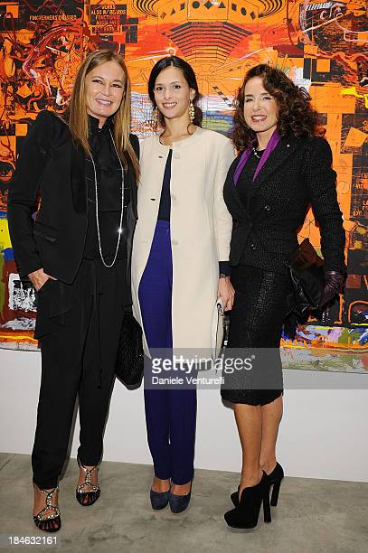 Eva Cavalli, Natalie Dompe and Gabriella Dompe attend Cardi Black Box Gallery Present Nicolas Pol hosted by Nicolo Cardi And Vladimir Restoin...