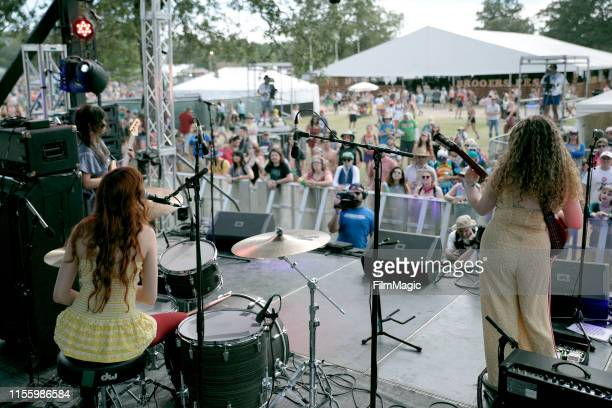 Eva Chambers Anastasia Sanchez and Isabelle Fields of Pinky Pinky perform on Who Stage during the 2019 Bonnaroo Arts And Music Festival on June 14...