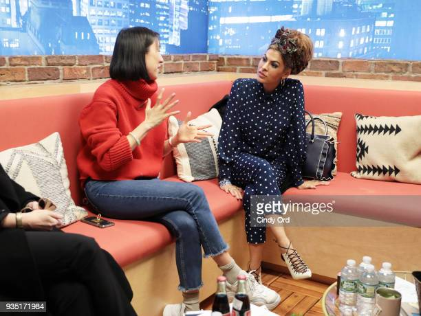Eva Chen and Eva Mendes attend Eva Mendes x New York Company 'Everyday Chic' Collection Launch on March 19 2018 at the Facebook New York offices in...