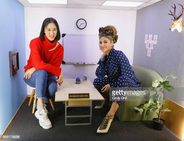 Eva Chen and Eva Mendes attend Eva Mendes x New York Company Everyday Chic Collection Launch on March 19 2018 at the Facebook New York offices in New...