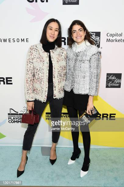 Eva Chen and Leandra Medine attend the Fifth Annual Hudson River Park Friends Playground Committee Luncheon at Current at Chelsea Piers on January 24...