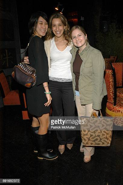 Eva Chen Andrea Laventhal and Lisa Schweitzer attend Lucky Number 6 Fragrance Launch from Lucky Brand Jeans at Buddah Bar on May 16 2006 in New York...