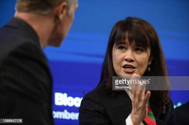 Eva Chen cofounder and chief executive officer Trend Micro Inc speaks during the Bloomberg Year Ahead summit in Tokyo Japan on Thursday Dec 6 2018...