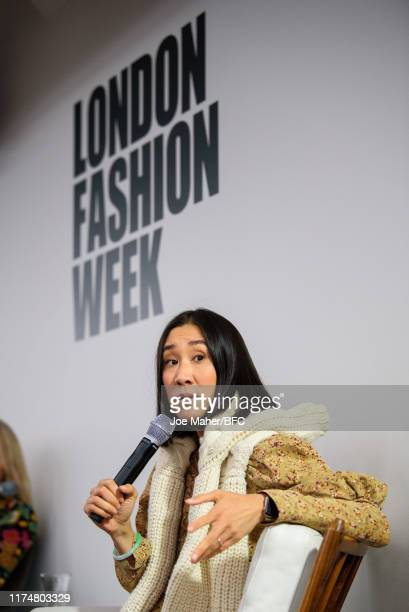 Eva Chen during a talk on Influencer Impact & The Future of Shopping at London Fashion Week September 2019 at BFC Show Space on September 15, 2019 in...