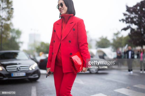 Eva Chen is seen attending Cline during Paris Fashion Week wearing Cline on October 1 2017 in Paris France